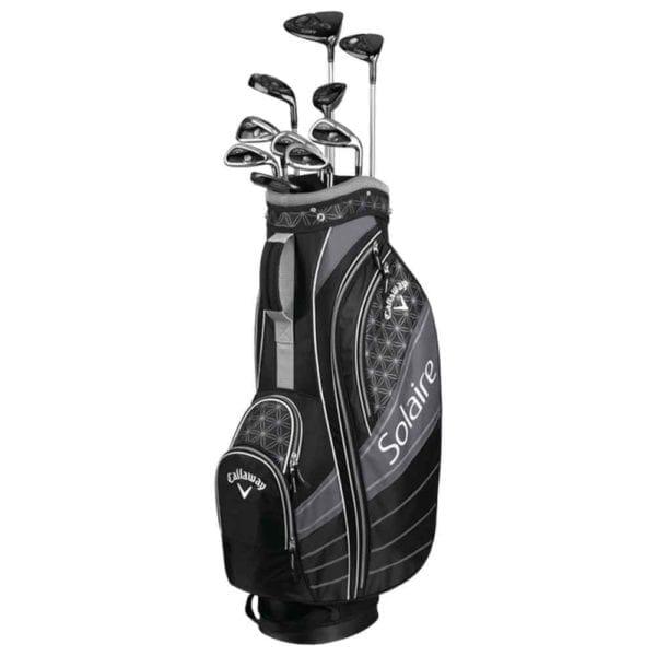 multiple golf clubs in a golf bag