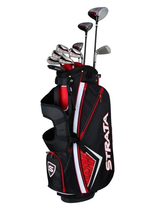 multiple strata golf clubs in a golf bag for men