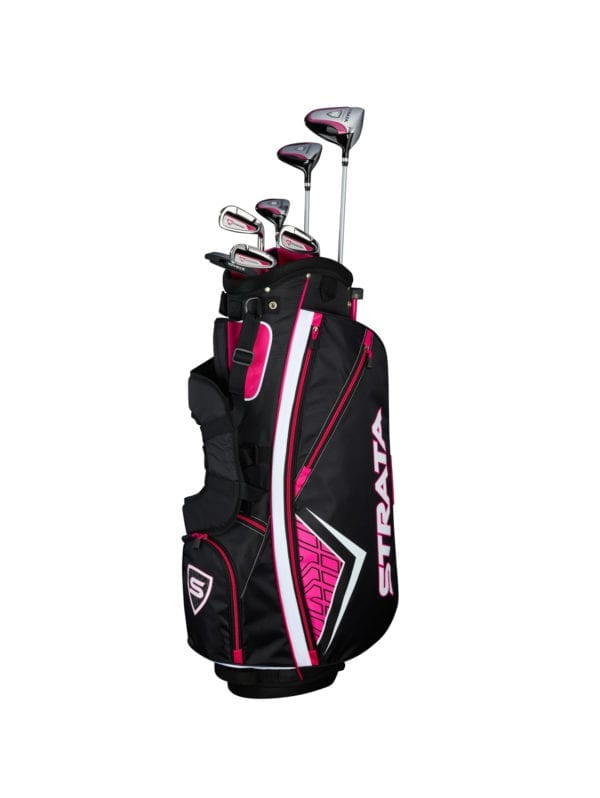 multiple strata golf clubs in a golf bag for women