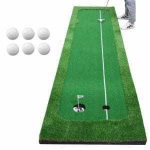 1 Set Golf Practice Hitting Mat 2 Holes Huge Turf Mat Fairway Trainer Aiming Line For 1