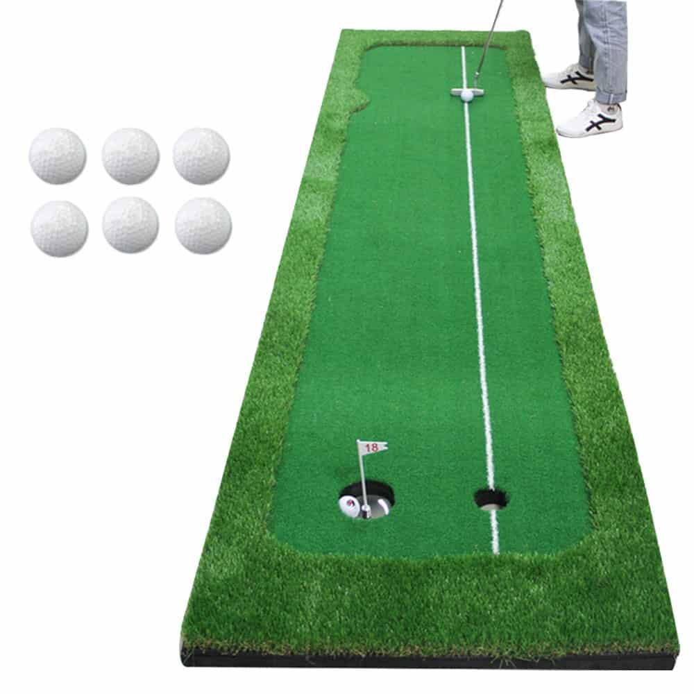 1 Set Golf Practice Hitting Mat 2 Holes Huge Turf Mat Fairway Trainer Aiming Line For 1
