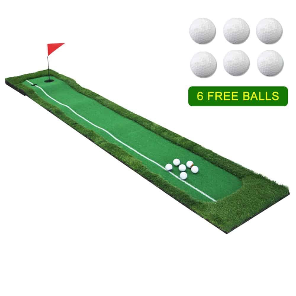 1 Set Golf Practice Hitting Mat 2 Holes Huge Turf Mat Fairway Trainer Aiming Line For 2