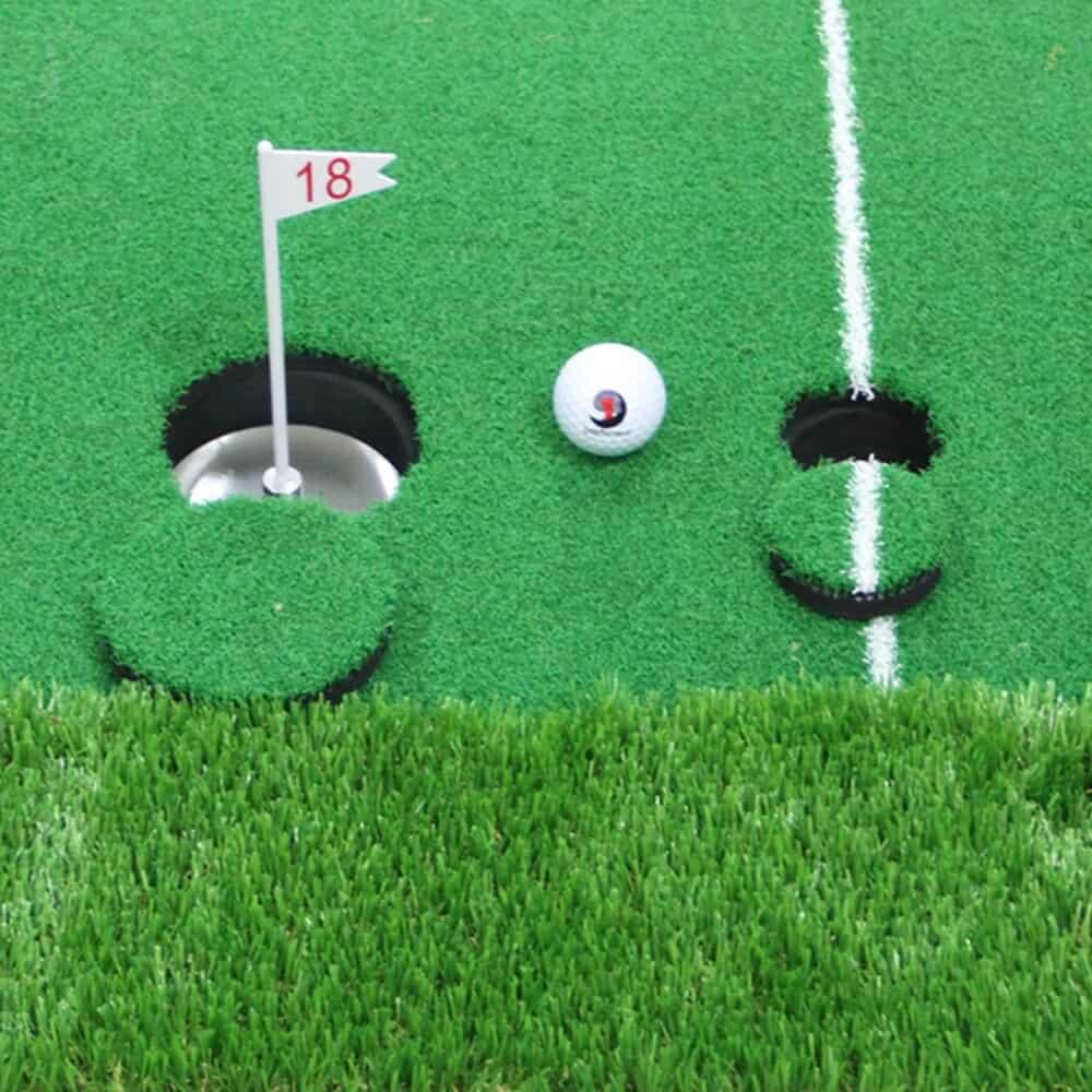 1 Set Golf Practice Hitting Mat 2 Holes Huge Turf Mat Fairway Trainer Aiming Line For 3
